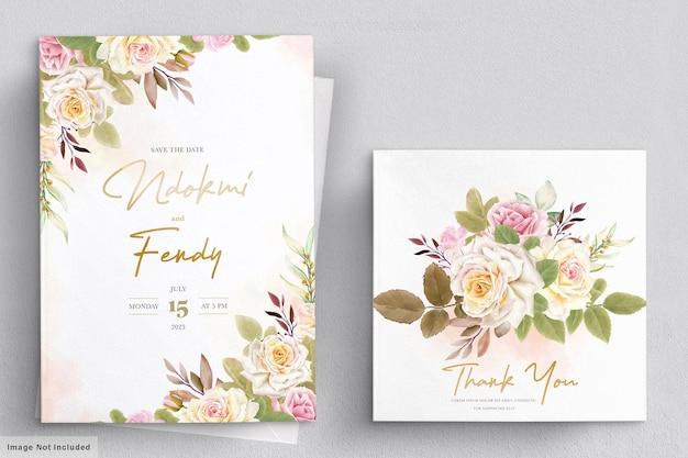 Romantisches weißes rosenaquarellhochzeitskartenset