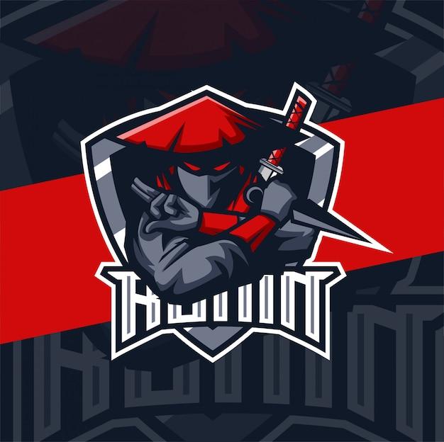 Ronin ninja maskottchen esport logo design