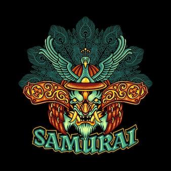 Ronin tiger samurai kopf pfau helm traditionelles japanisches design