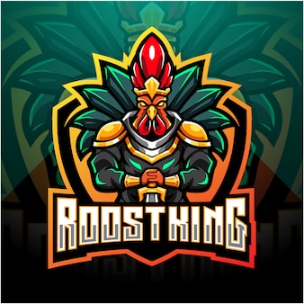 Rooster king esport maskottchen logo design