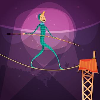 Ropewalker-frau, die ein kostüm mit einem stock und einem seil in der zirkuskarikatur-vektorillustration trägt
