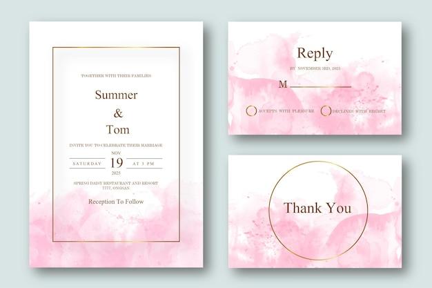 Rosa abstrakte hochzeitseinladungssatzschablone