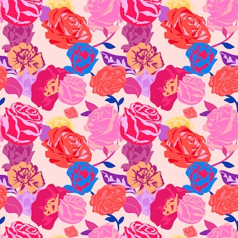 Rosa ästhetisches blumenmuster mit buntem hintergrund der rosen