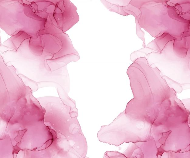 Rosa alkoholtintenbeschaffenheit. abstrakter handgemalter hintergrund. fließendes kunstmalerei-design. trendige tapete.