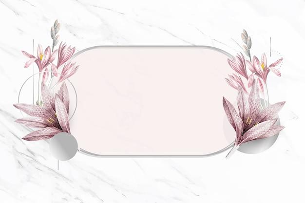 Rosa amaryllismuster mit silbernem rahmenvektor