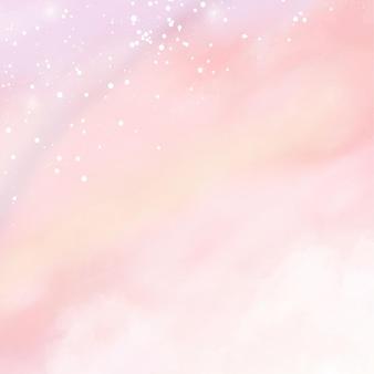 Rosa aquarell baumwollwolkenhintergrund. pastell-fantasy-himmel-hintergrund-vorlage für hochzeitseinladung, grußkarte, banner oder flyer. vektorillustration von flauschigen süßigkeitenwolken.