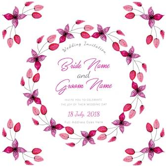 Rosa aquarell-blumenhochzeits-einladungs-karte