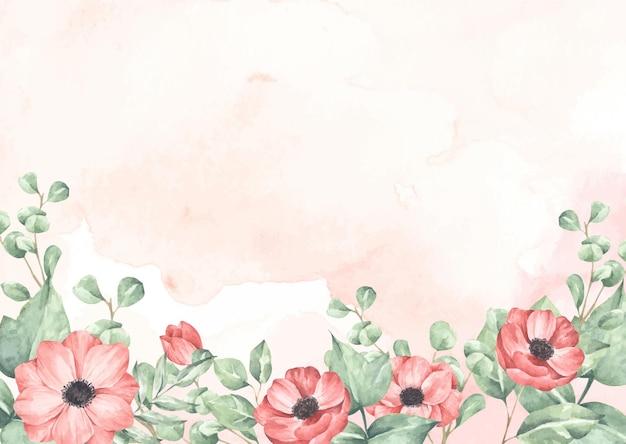 Rosa aquarellbeschaffenheit und blumen und blätter.