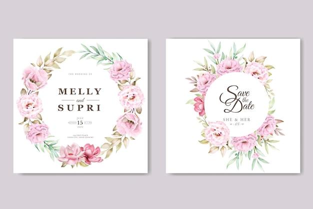 Rosa aquarellblumenkarte