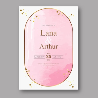 Rosa aquarellhochzeitskartenschablone