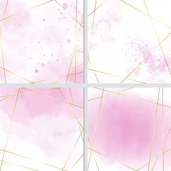 Rosa aquarellspritzenhintergrund mit goldener rahmensammlung