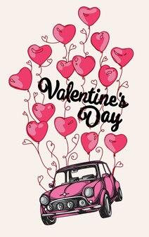 Rosa auto mit valentinstagkarte vieler rotballone