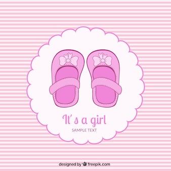 Rosa baby-dusche-karte in gestreiften stil