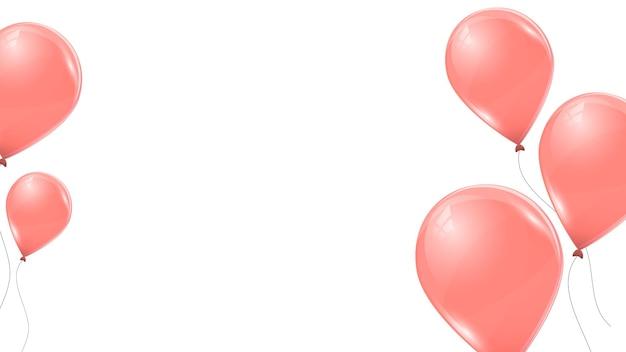Rosa ballons lokalisiert auf weißem hintergrund. fliegende latex-3d-ballons. vektor-illustration.