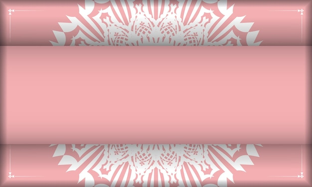 Rosa banner mit luxuriösem weißem muster und platz für ihr logo oder ihren text