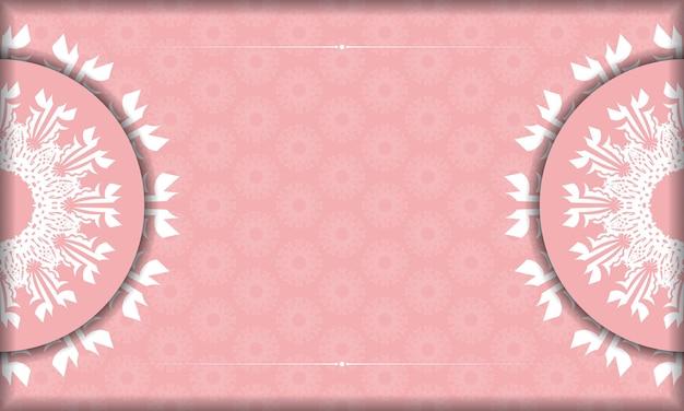Rosa banner mit weißem vintage-ornament für design unter ihrem logo