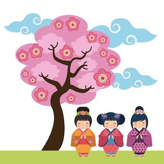 Rosa baum und süße japanische mädchen symbol