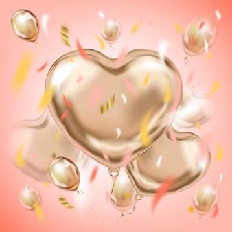 Rosa bild mit ballonen einer metallischen herzform