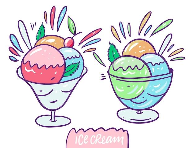 Rosa, blaue, grüne, gelbe kugeln eis und kirsche in glas milchkännchen. cartoon-stil.