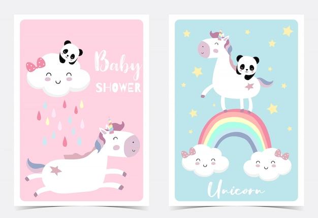 Rosa blaue hand gezeichnete postkarte