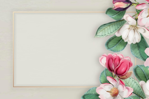 Rosa blühender blumenrahmenvektor