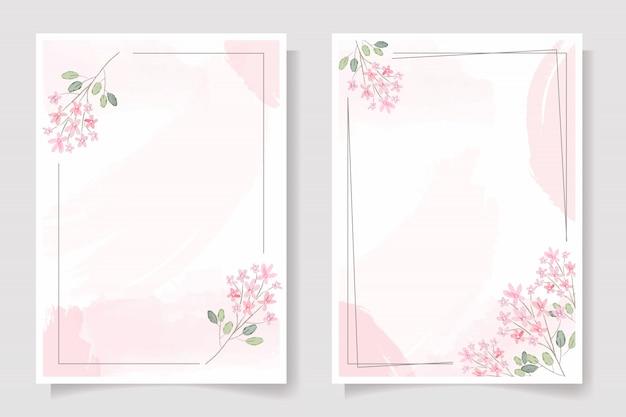 Rosa blume mit rahmen auf rosa aquarell spritzen hochzeitseinladung oder geburtstagsgrußkartenschablonensammlung