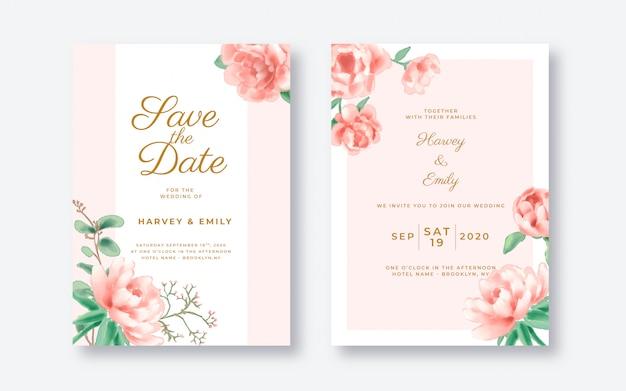 Rosa blumen-hochzeits-einladungskartenschablone