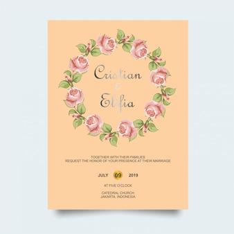 Rosa blumenhochzeitseinladung