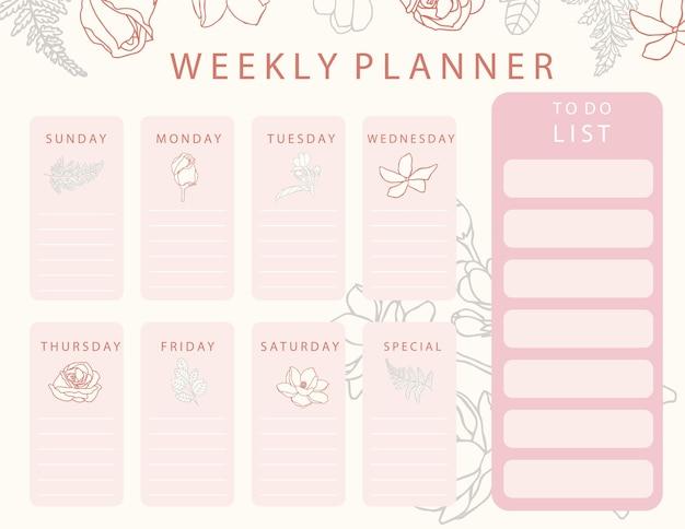 Rosa blumenkalenderplaner mit rose, jasmin, blättern. kann für druckbare, sammelalbum, tagebuch verwenden