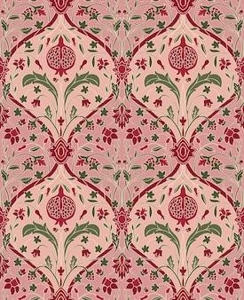 Rosa blumenmuster mit granatapfel. nahtlose filigrane verzierung.