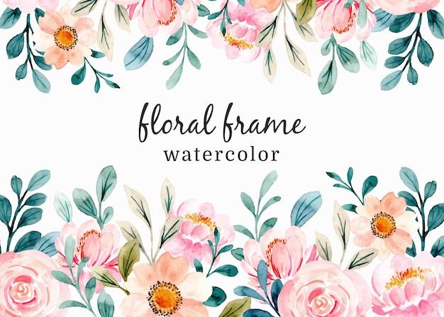 Rosa blumenrahmen mit aquarell