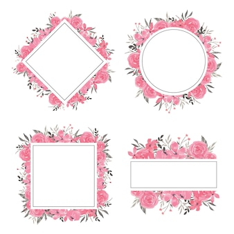 Rosa blumenrahmen-set