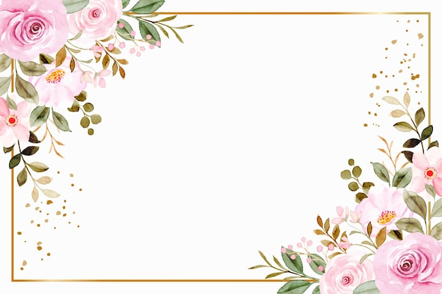 Rosa blumenrahmenhintergrund mit aquarell