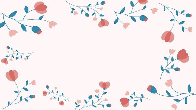 Rosa blumenrahmenhintergrundvektor femininer stil