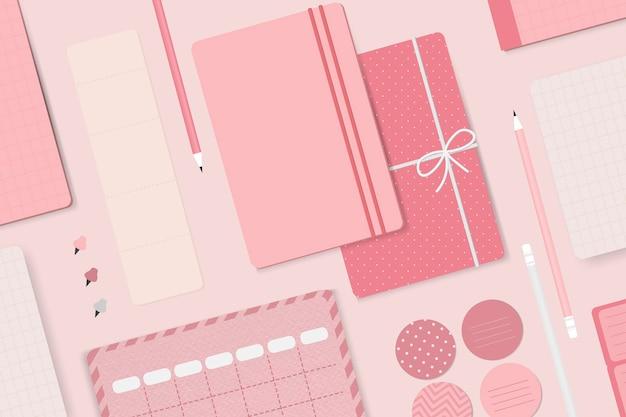 Rosa briefpapier-planer-set