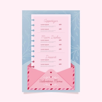 Rosa design der valentinstagmenüvorlage