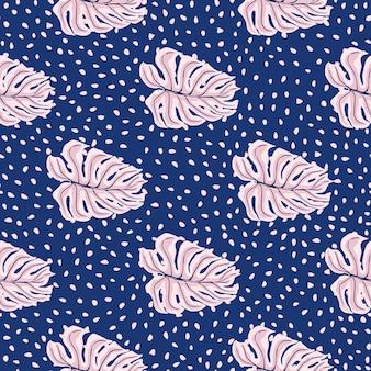 Rosa einfache monstera-blatt-silhouetten nahtlose muster. marineblau gepunkteter hintergrund.