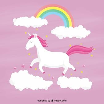 Rosa einhorn hintergrund mit wolken und regenbogen
