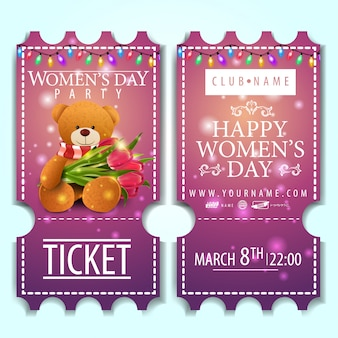 Rosa eintrittskarte für die frauentagsparty mit teddybär