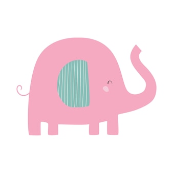 Rosa elefant nette flache vektorgrafik mit elefanten-kinderkarikaturillustration