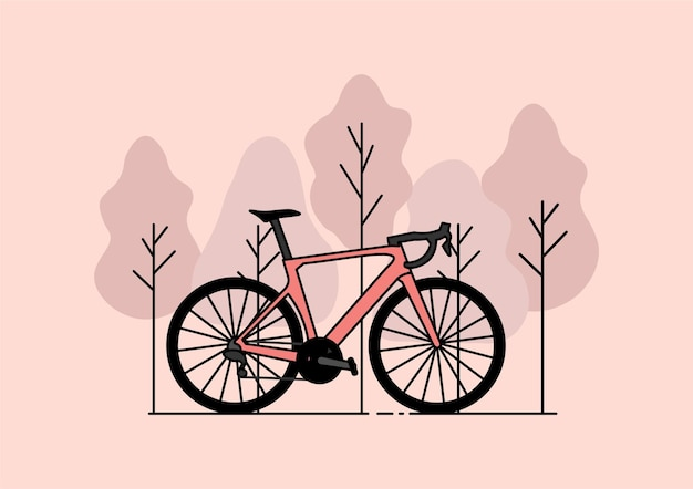 Rosa fahrrad im wald