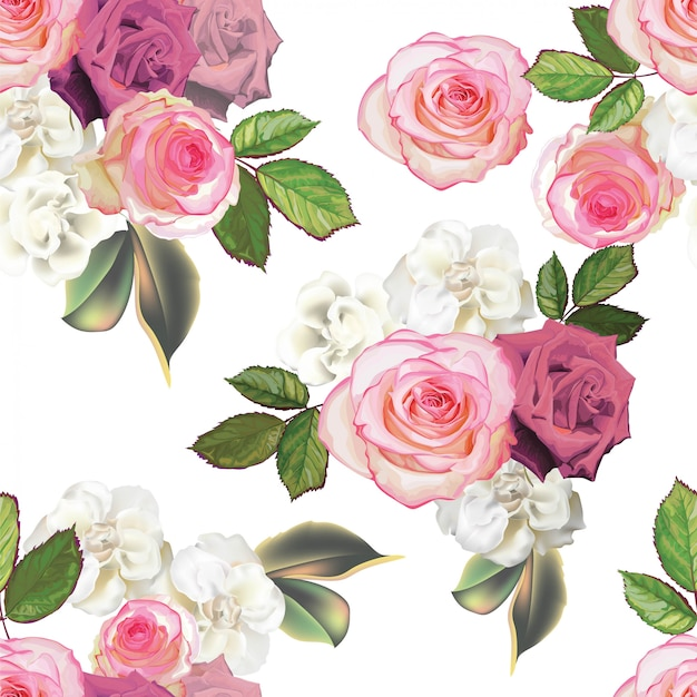 Rosa farbe des rosenblumenstraußes und begonie blühen nahtloses muster
