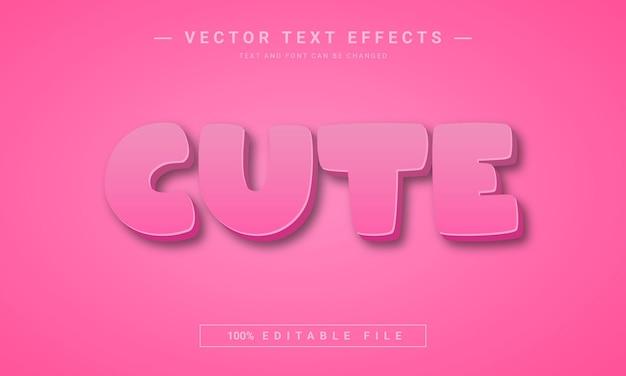 Rosa farbe nette bearbeitbare texteffektvorlage 3d