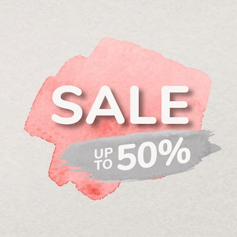 Rosa farbenverkaufs-abzeichenaufkleber, aquarellpinselstrich, einkaufsbildvektor