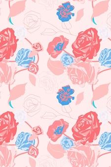 Rosa femininer blumenmustervektor mit rosenpastellhintergrund
