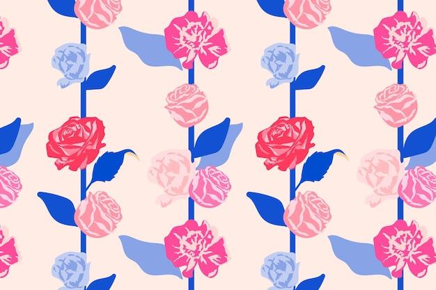 Rosa feminines blumenmuster mit rosenpastellhintergrund