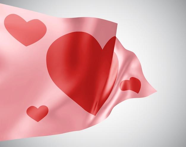Rosa flagge mit herz zum valentinstag auf weißem hintergrund