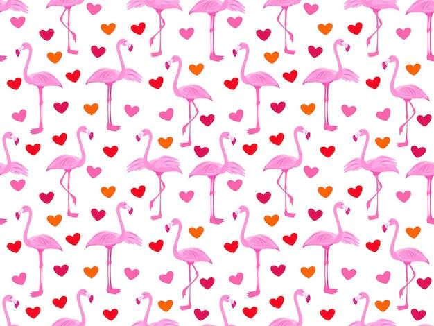 Rosa flamingos nahtlose muster mit flamingos und herzen exotische vögel stock vector illustration