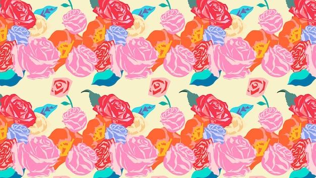 Rosa frühlingsblumenmuster mit buntem hintergrund der rosen