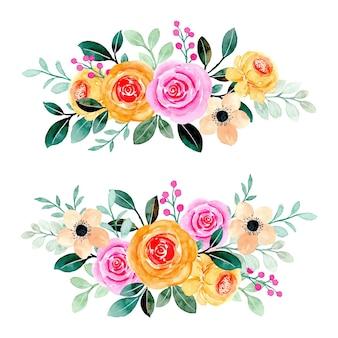 Rosa gelbe blumenstraußkollektion mit aquarell